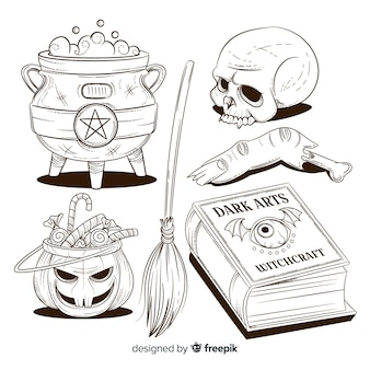 Colección de elementos de halloween dibujados a mano a lápiz