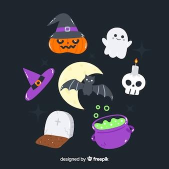Colección de elementos de halloween dibujados a mano sobre fondo negro