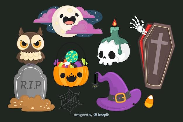 Colección de elementos de halloween dibujados a mano