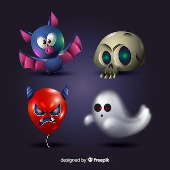 Colección de elementos de halloween de dibujos animados realistas