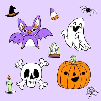 Colección de elementos de halloween de diseño dibujado a mano