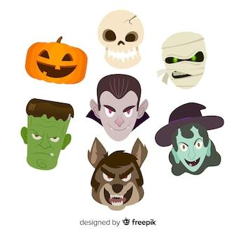 Colección de elementos de halloween en diseño plano