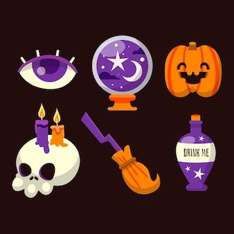Colección de elementos de halloween de diseño plano