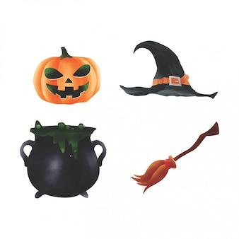Colección de elementos de halloween estilo acuarela