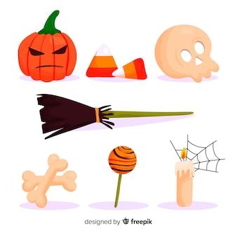 Colección de elementos de halloween plana simplista