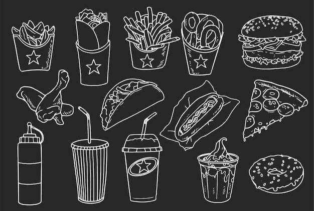 Colección de elementos handrawn comida rápida.