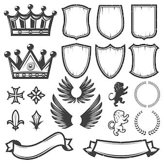 Colección de elementos heráldicos monocromos vintage
