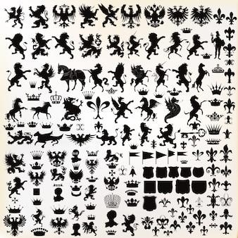 Colección de elementos heráldicos