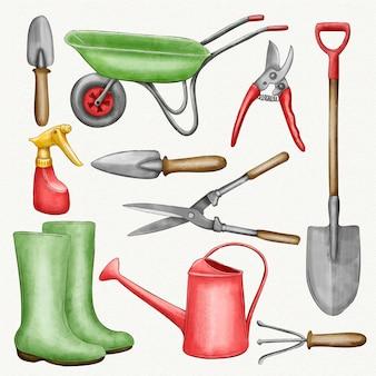Colección de elementos y herramientas de jardinería.