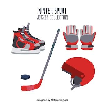 Colección de elementos de hockey en diseño plano