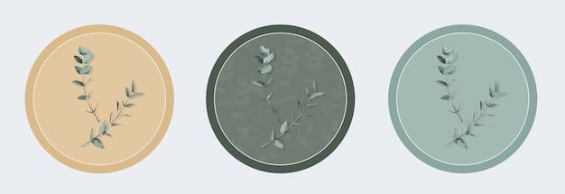 Colección de elementos de hojas verdes para ramos, invitaciones de boda, arreglos de coronas