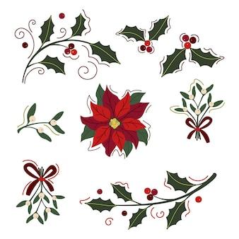Colección de elementos de imágenes prediseñadas florales de navidad festiva. conjunto de ramas de acebo y muérdago y flor de pascua aislado en blanco.