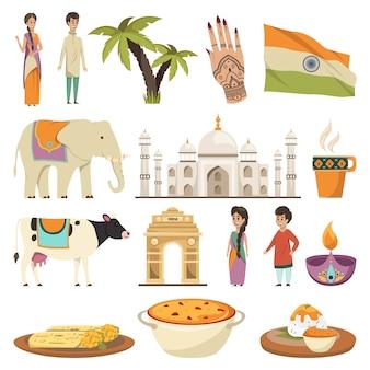 Colección de elementos de la india