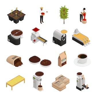 Colección de elementos de la industria cafetalera