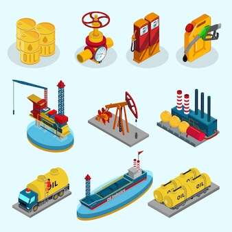 Colección de elementos de la industria petrolera isométrica