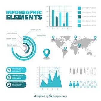 Colección de elementos de infografía azul