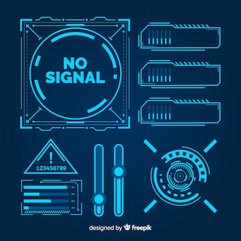 Colección elementos infografía azules futuristas