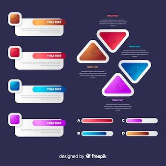 Colección de elementos de infografía brillante realista