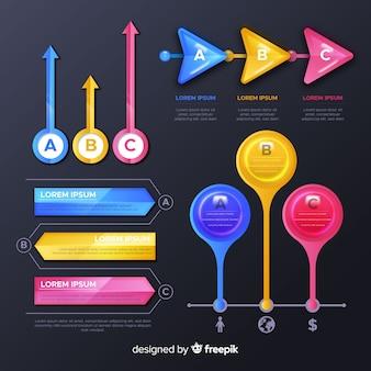 Colección de elementos de infografía brillante.