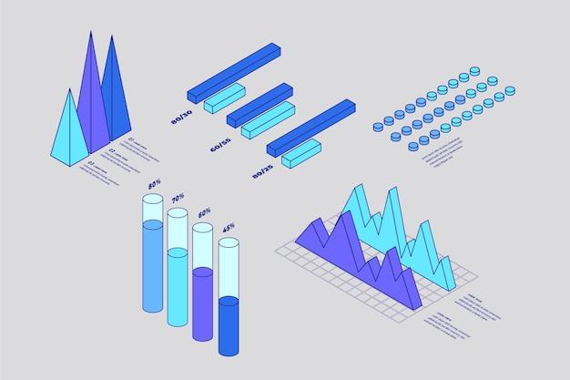 Colección de elementos de infografía de contorno isométrico