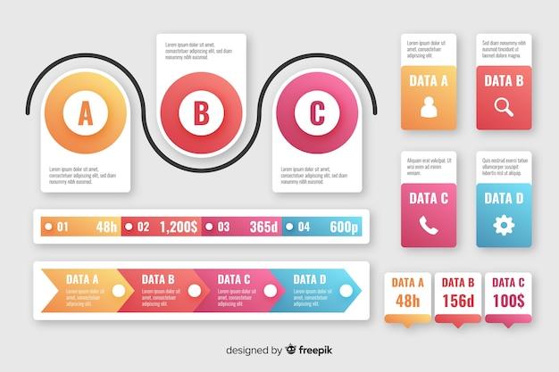 Colección de elementos de infografía degradado.