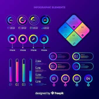 Colección de elementos de infografía con degradado