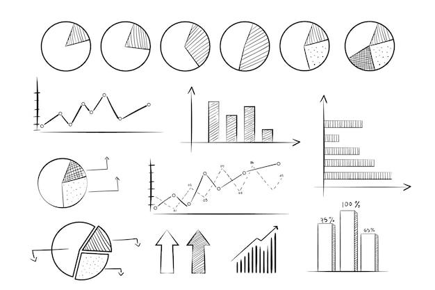 Colección de elementos de infografía dibujado a mano