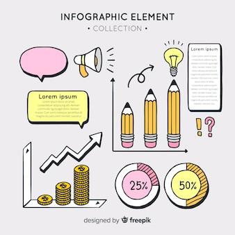 Colección de elementos de infografía dibujados a mano