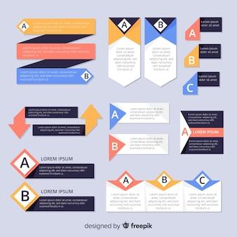 Colección de elementos de infografía en diseño plano