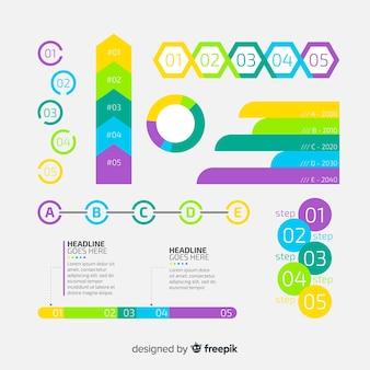 Colección de elementos de infografía de diseño plano
