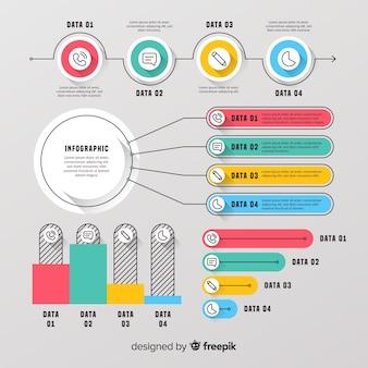 Colección elementos infografía diseño plano