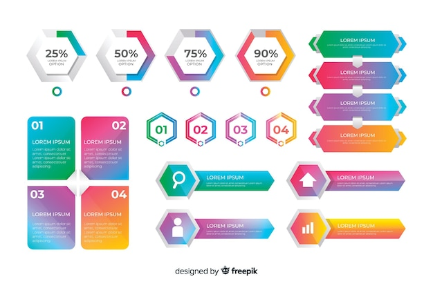 Colección de elementos de infografía empresarial creativa