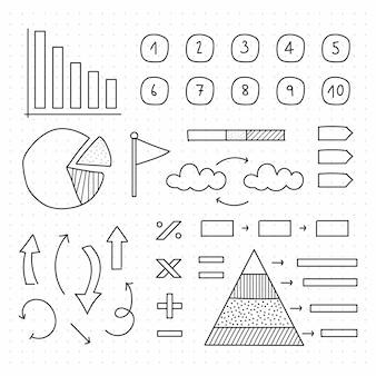 Colección de elementos de infografía escolar dibujados a mano