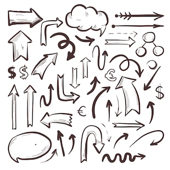 Colección de elementos de infografía escolar dibujados