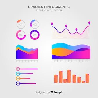 Colección de elementos de infografía con estilo de degradado