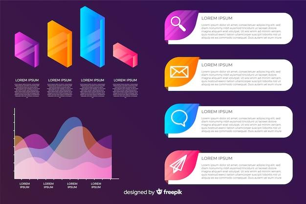Colección de elementos de infografía en estilo degradado