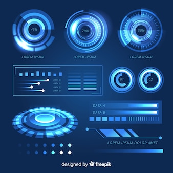 Colección de elementos de infografía futurista