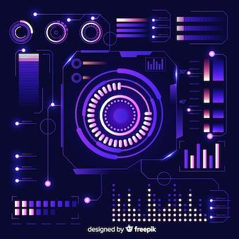 Colección de elementos de infografía futuristas