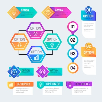 Colección de elementos de infografía gradiente
