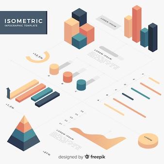 Colección elementos infografía isométricos