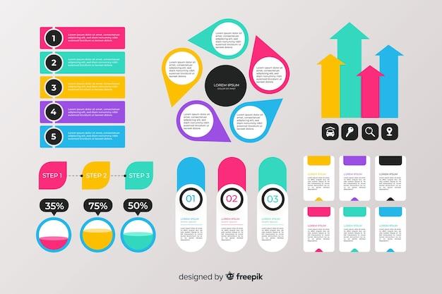 Colección de elementos de infografía plana