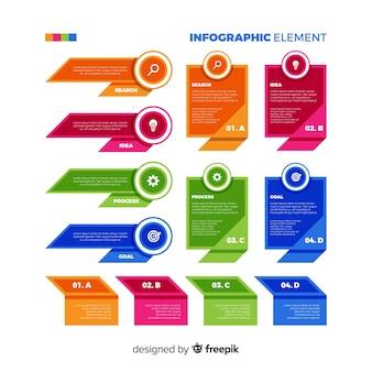 Colección elementos infografía planos coloridos
