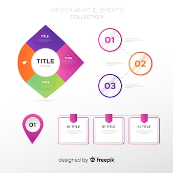 Colección elementos infografía planos