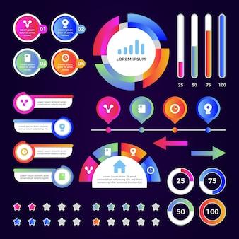 Colección de elementos de infografía plantilla gradiente