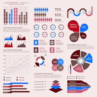 Colección de elementos de infografía para presentación, folleto, sitio web, diagrama, banner, opciones numéricas, diseño de flujo de trabajo o diseño web, etc. gran conjunto de infografías. vector de línea de tiempo.