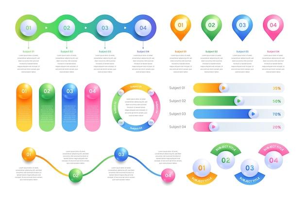 Colección de elementos de infografía realista