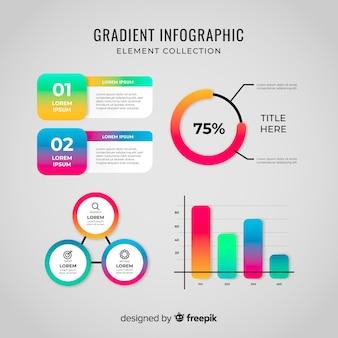 Colección de elementos de infografías degradado