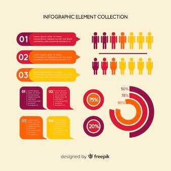 Colección de elementos de infografías en diseño plano