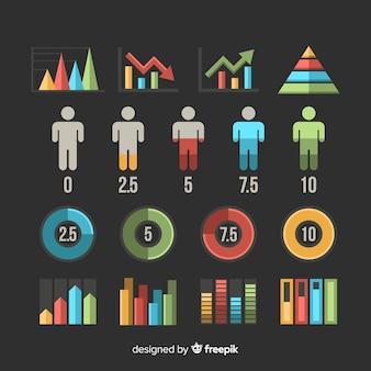 Colección de elementos para infografias en diseño plano