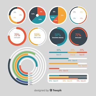 Colección de elementos para infografías en diseño plano